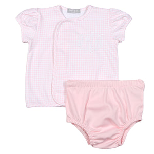 Baby Bliss Pink Gingham Diaper Set