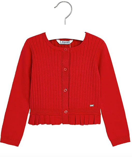 Mayoral Red Ribbed Cardigan