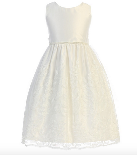 Sweet Kids Embellished Scalloped Lace Dress