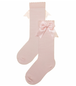 Carlomagno Pale Pink Girls Knee High with Bows
