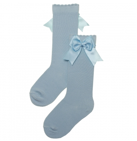 Carlomagno Sky Blue Girls Knee High with Bows
