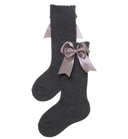 Carlomagno Medium Gray Girls Knee High with Bows