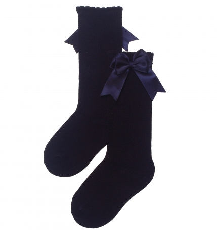 Carlomagno Navy Girls Knee High with Bows