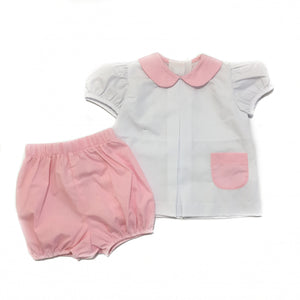 Girl Pleat Front Bloomer Set White & Pink