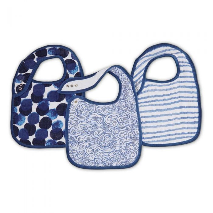 Aden & Anais Seafaring 3-pack Classic Snap Bibs