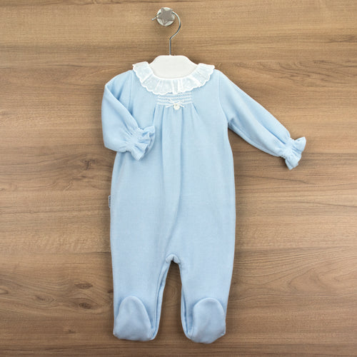 Babidu Blue Girl Smocked Footie with Collar