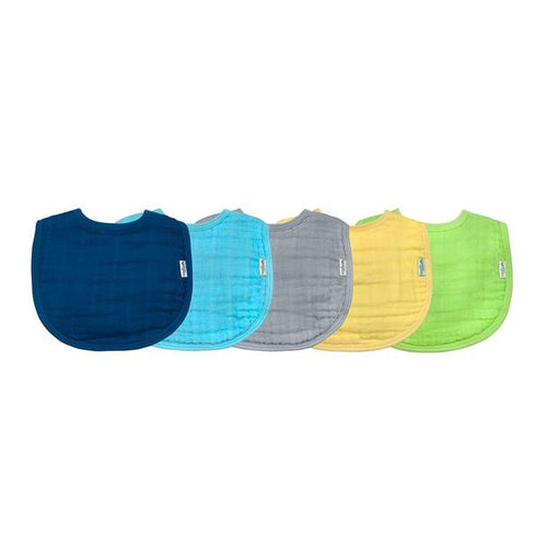 Green Sprouts Blue 5pk Muslin Bibs