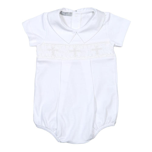 Baby Bliss White Smocked Cross Bubble-Boy