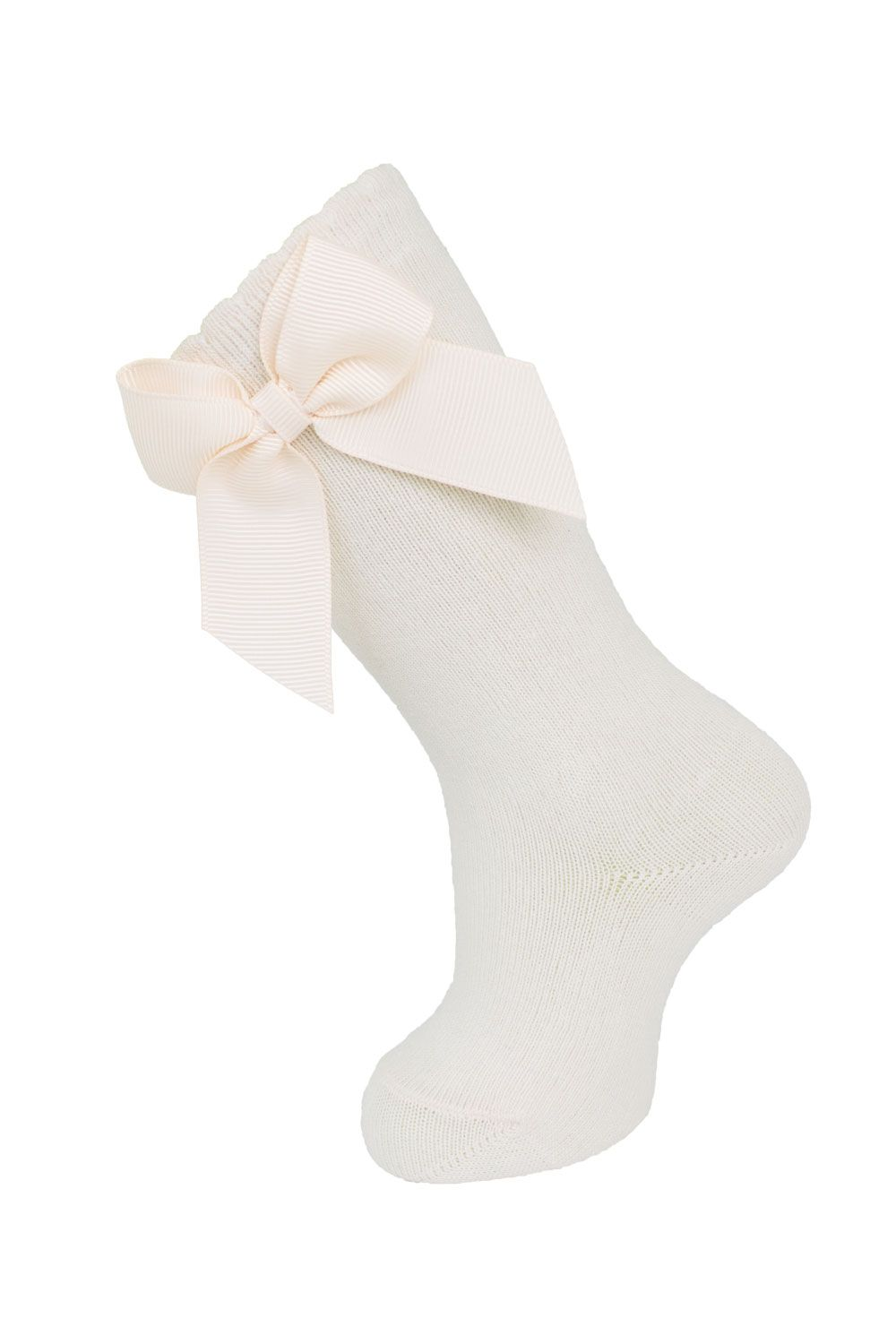 Carlomagno Ivory Knee High w/Grosgrain Bow