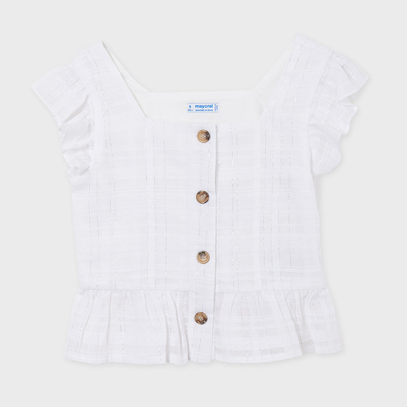 Mayoral Button Front White Gauze Top