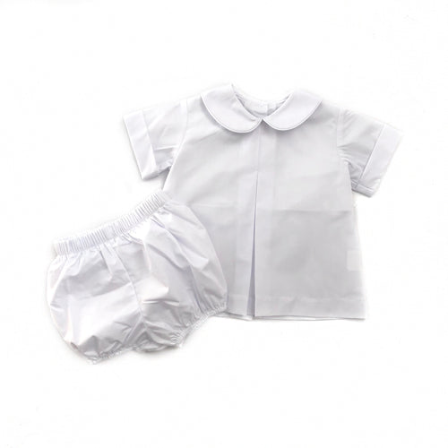 Banbury Cross Solid White Boy Bloomer Set
