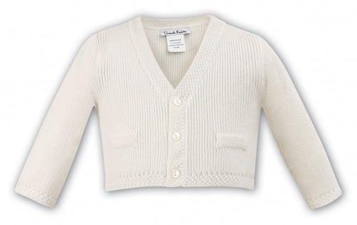 Sarah Louise V Neck Boy Ivory Cardigan