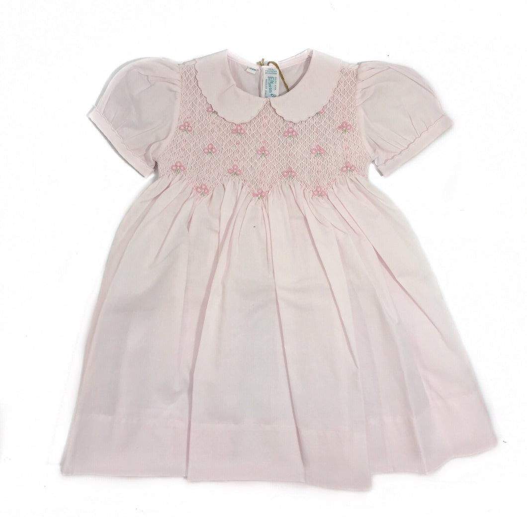 Feltman Pink Smocked Dress with Pearls