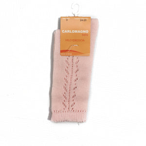 Carlomagno Pale Pink Crochet Knee High