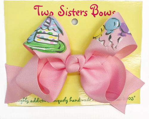 Two Sisters Birthday Cake Bow Pink