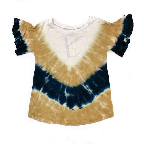 Erge Black & Gold TieDye Ruffle Top
