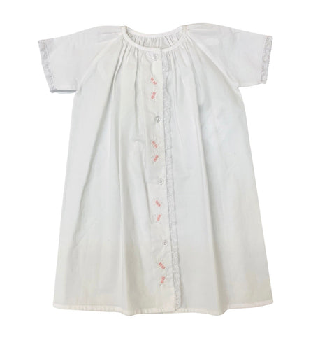 Auraluz White/Pink Button Front Tiny Bud Daygown