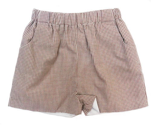 Banbury Elastic Short Brown Gingham