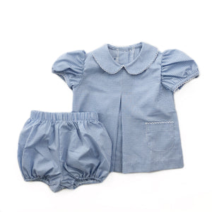 Banbury Cross Light Blue Gingham Girl Bloomer Set