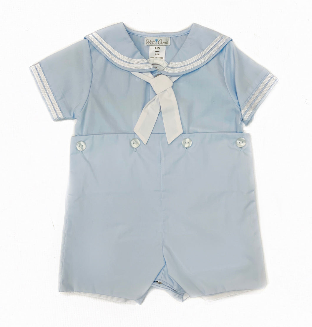 Petit Ami Blue Sailor Button-On