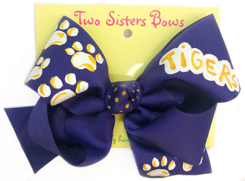 Two Sisters Purple Tiger Paw Bow