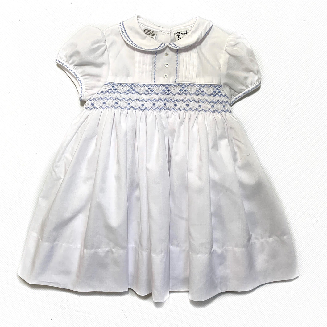 Sarah Louise White Dress with Blue Smocked Detail