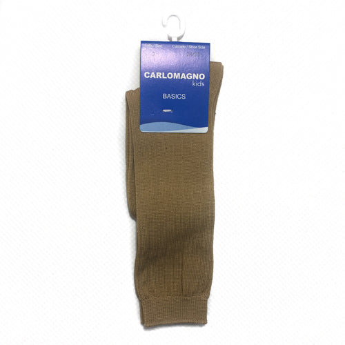 Carlomagno Camel Ribbed Knee High Sock