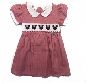 Red & Black Dot Minnie Smocked Dress