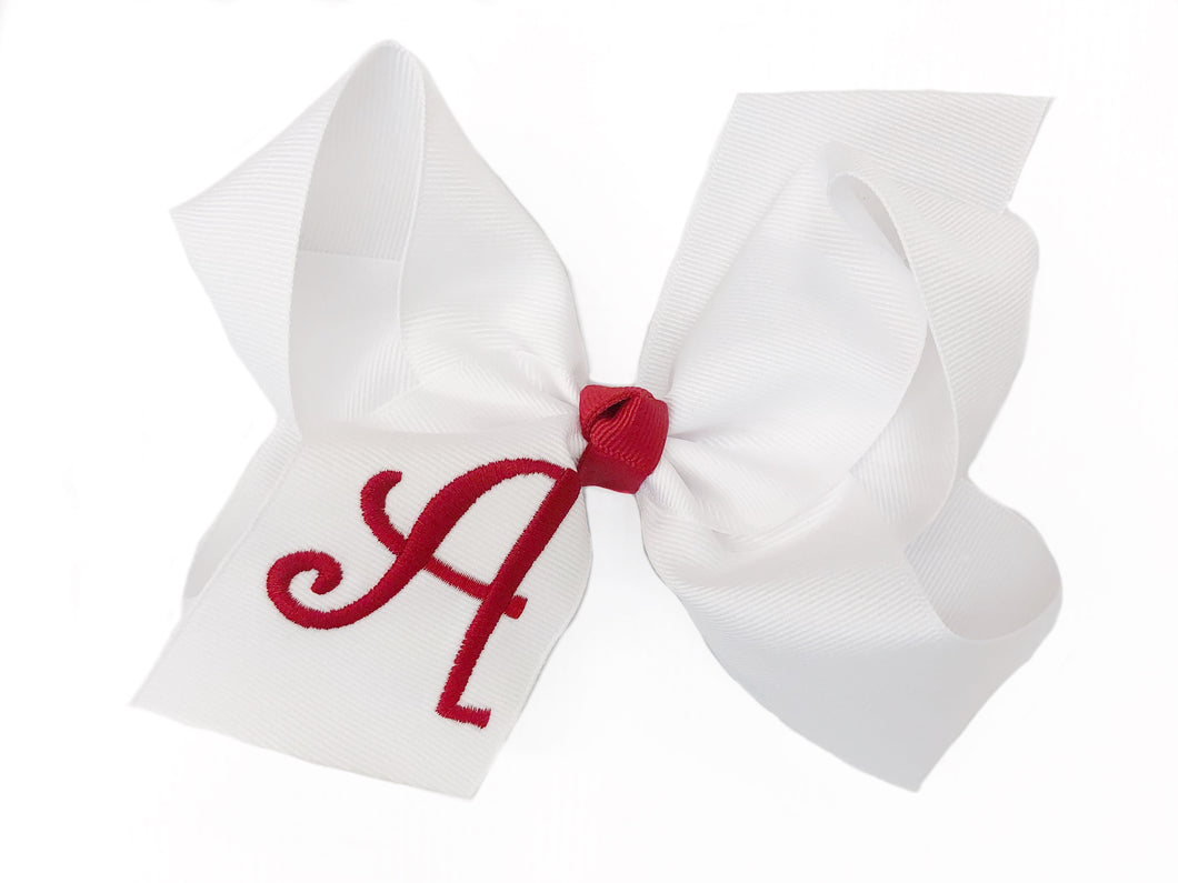 Banbury Large Monogram Bow White/Red Letter