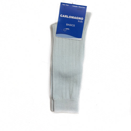 Carlomagno Ribbed Sky Blue Knee High Socks