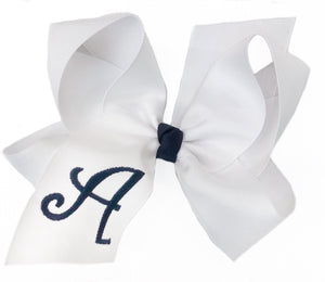 Banbury Large Monogram Bow White/Navy Letter