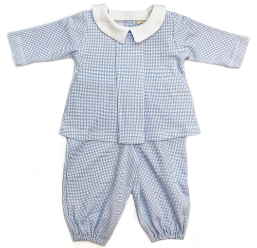 Luigi Boy Gingham Print Long Bloomer Set-2 Colors