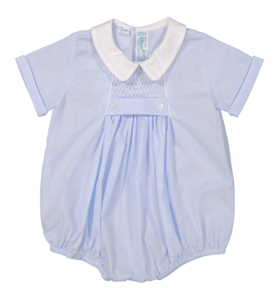 Feltman Chevron Smocked Creeper-Lt. Blue