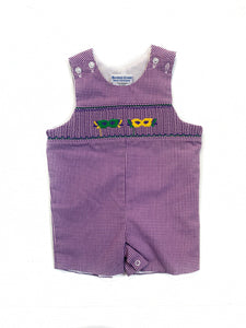 Mardi Gras Mask Smocked Shortall
