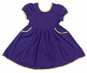 Velvet Fawn Purple/Gold Swoop Dress