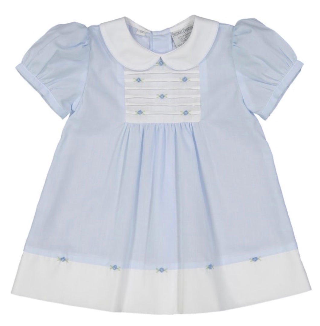 Friedknit Blue Rosebud Bib Dress