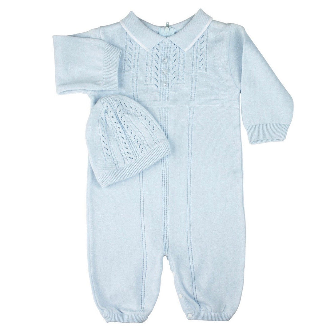 Feltman Blue Cable Knit Romper/Hat
