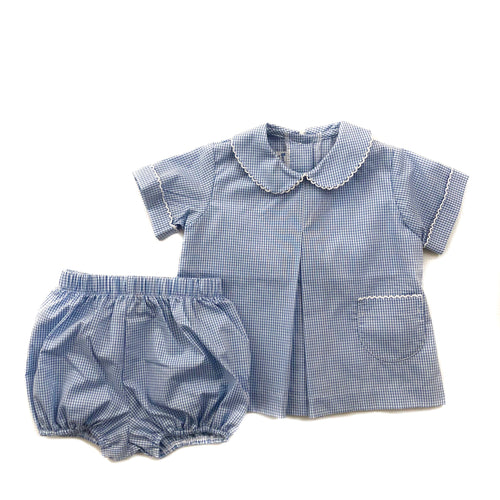 Banbury Cross Medium Blue Gingham Boy Bloomer Set