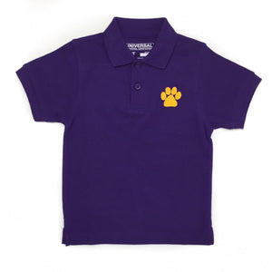 Purple Gameday Polo with Gold Paw