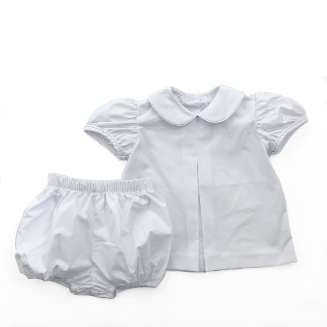 Banbury Cross Solid White Girl Bloomer Set