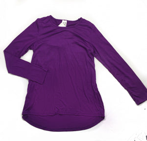 Purple Long Sleeve Zipper Back Top