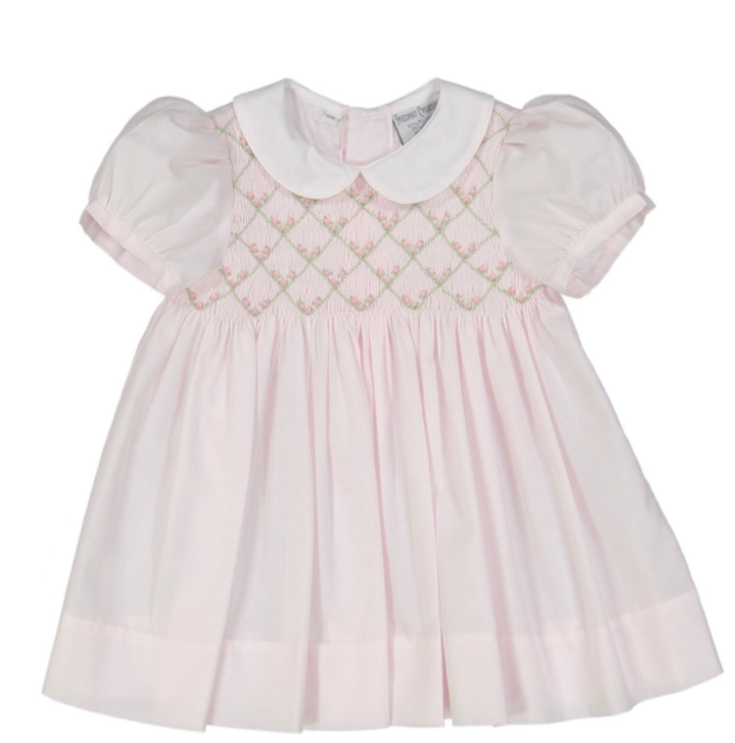 Friedknit Rosebud Diamond Smocked Dress-Pink