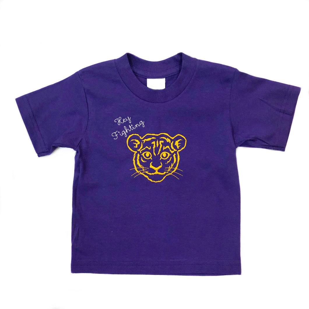 Hey Fighting Tiger Purple Tee