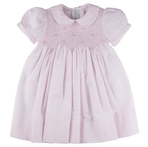 Feltman Pink Scalloped Pearl Smocked Dress