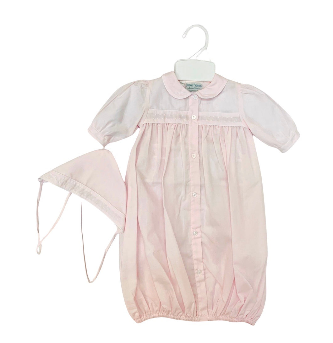 Friedknit  Girls Take Me Home Daygown with Dots/Hat 1152