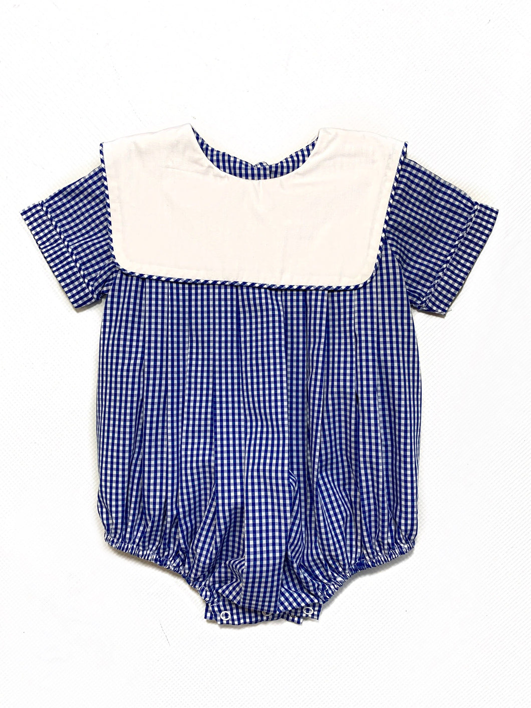 Delaney Blue Square Collar Gingham Bubble