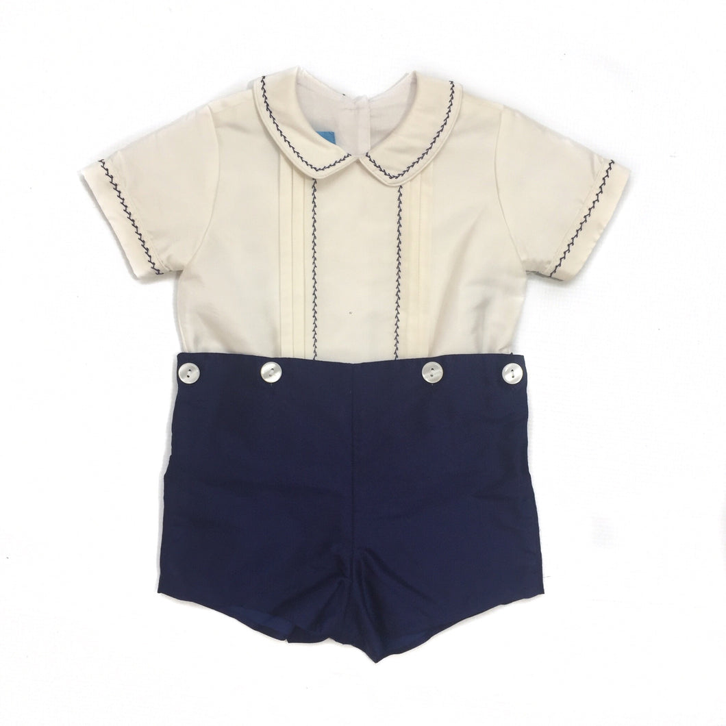 Anavini Navy Silk Boy Short Set