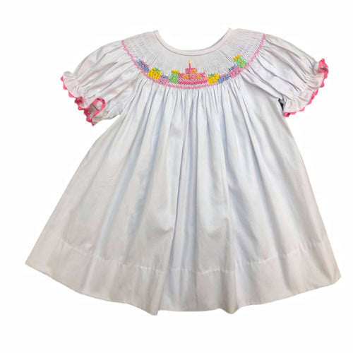 Delaney White Smocked Birthday Dress