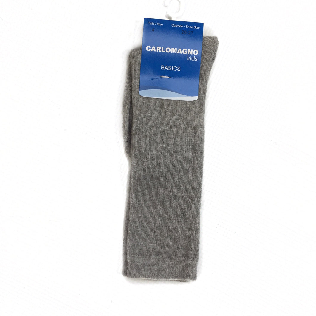 Carlomagno Ribbed Light Grey Knee High Socks