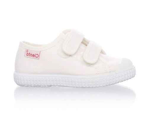 Cienta Velcro White Canvas Unisex